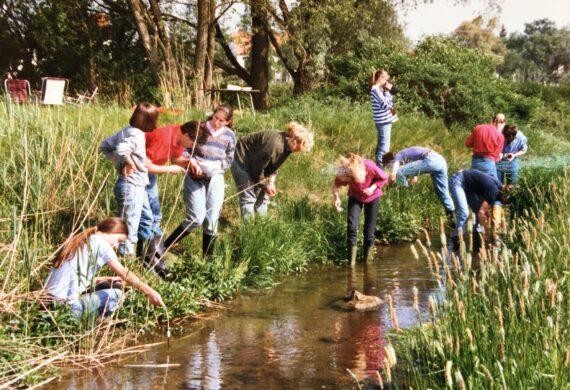 1986 KjG Arche Noah Kinder am Teich forschen