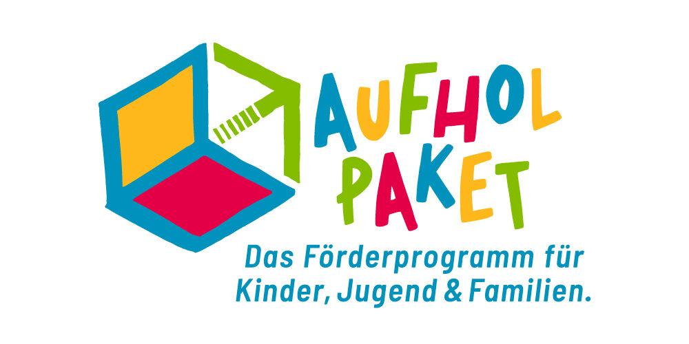 Würfel-Logo Aufholpaket BMFSFJ mit Schriftzug Aufholpaket das Förderprogramm für Kinder, Jugend und Familien